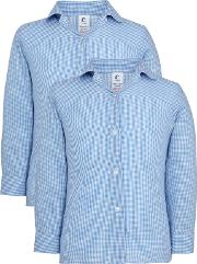 Unbranded , Girls' School Long Sleeve Checked Blouse, Pack Of 2, Bluewhite