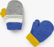 John Lewis , Baby Striped Magic Mittens, Pack Of 2