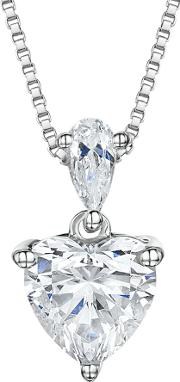 Jools By Jenny Brown , Cubic Zirconia Heart Pendant Necklace, Silver