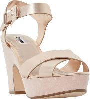 Dune , Iyla Block Heeled Cross Strap Platform Sandals