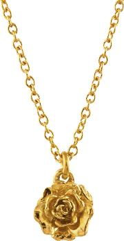 Alex Monroe , 22ct Gold Plated Sterling Silver Rosa Damascena Pendant Necklace, Gold