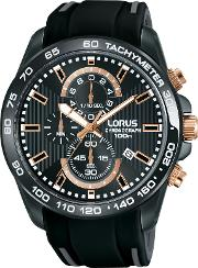 Lorus , Rm317dx9 Men's Chronograph Date Silicone Strap Watch, Black