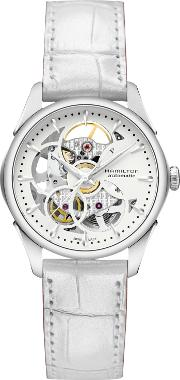 Hamilton , H32405811 Women's Jazzmaster Viewmatic Automatic Skeleton Leather Strap Watch