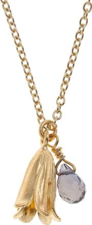 Alex Monroe , 22ct Gold Plated Iolite Baby Bluebell Pendant Necklace