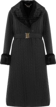 Bruce By Bruce Oldfield , Long Quilted Faux Fur Trimmed Coat