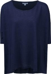 Pure Collection , Jacqueline Luxury Linen Poncho, Navy