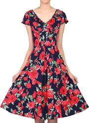 Jolie Moi , Floral Print V-neck Swing Dress