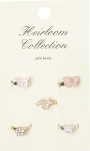 John Lewis Heirloom Collection , Flower Butterfly Ring Set, Pack Of 5, Pink