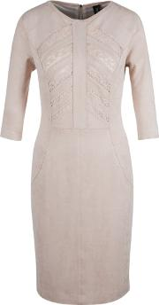 Marc Cain , Suedette Dress, Rose Taupe