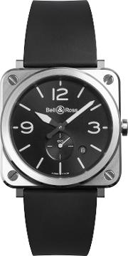 Bell & Ross , Brs Blc St Men's Rubber Strap Watch
