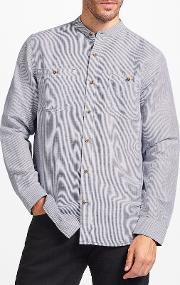 John Lewis , Linen Cotton Fine Stripe Grandad Collar Shirt