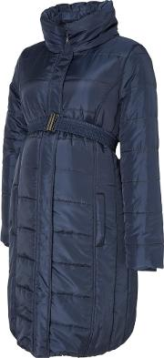 Mamalicious , Long Quilted Padded Maternity Coat, Navy