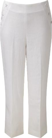 Pure Collection , Laundered Linen Cropped Trousers