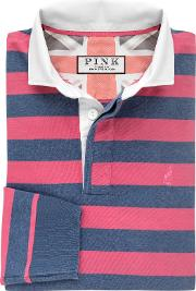 Thomas Pink , Fielding Stripe Cotton Rugby Shirt, Deep Pinkblue