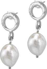 Dower & Hall , Open Circle Pearl Drop Earrings