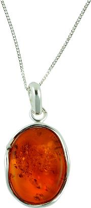 Bejewelled , Be Jewelled Sterling Silver Amber Free Form Pendant Necklace, Orange