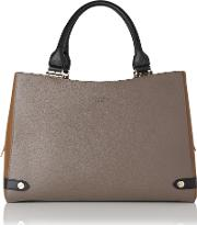 Mel , Isabella Camel Graphite Grained Leather Tote Bag
