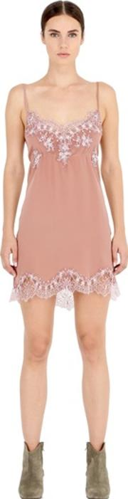 Pink Memories , Silk Crepe Dress With Lace