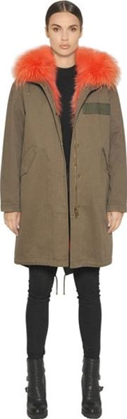 Army By Yves Salomon , Cotton Canvas Parka With Fox Fur Lining