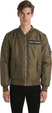 Daily Paper , Green Nylon Bomber Jacket