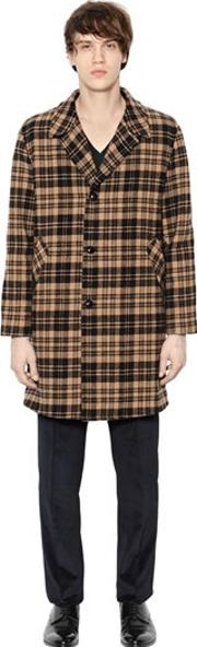 Mp Massimo Piombo , Plaid Virgin Wool Coat