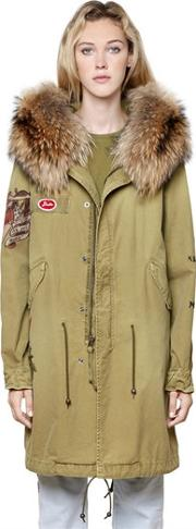 Mr&mrs Italy , Printed Canvas Parka W Fur Collar