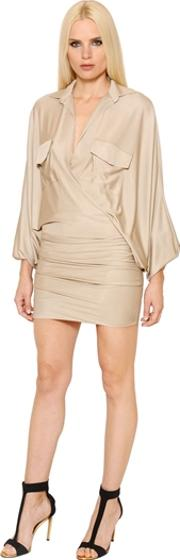 Alexandre Vauthier , Batwing Sleeves Shiny Jersey Dress