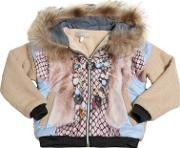 Venera Arapu , Wool Boucle Jacket With Faux Fur