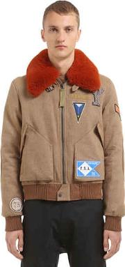 Yves Salomon , Wool Blend Bomber Jacket W Fur Collar
