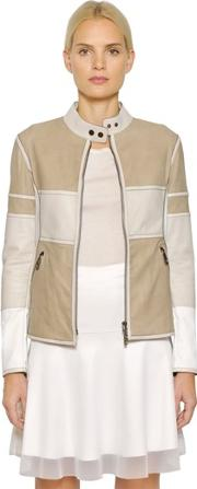 Callens , Nubuck & Perforated Leather Biker Jacket