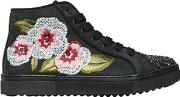 Andrea Montelpare , Floral Embroidered Leather Sneakers