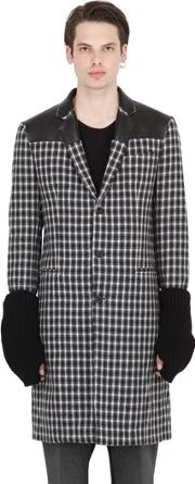 Var City , Wool Jacquard Coat With Knit Sleeves