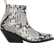 Gaia Deste , 70mm Python Printed Leather Ankle Boots