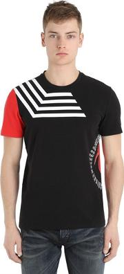 Bikkembergs , Printed Cotton Stretch T Shirt