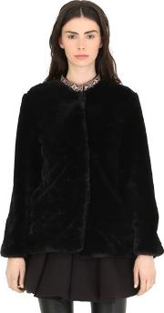 Cc By Camilla Cappelli , Faux Fur Coat With Embroidered Trim