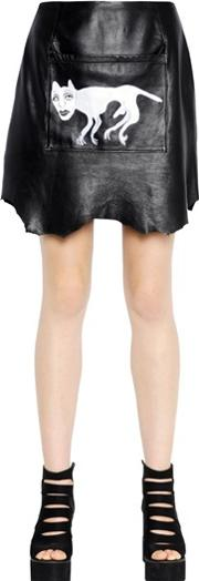 Claire Barrow , Printed Raw Hide Leather Mini Skirt