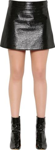 Courreges , Zip Up Faux Patent Leather Mini Skirt