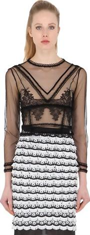 Dagda , Sheer Tulle & Lace Top