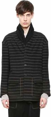 Damir Doma , Scarf Collar Striped Wool Cotton Jacket