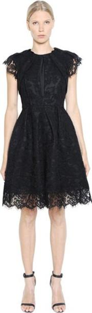 Dice Kayek , Pleated Cotton Lace & Taffeta Dress