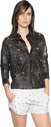 Drome , Cropped Studs & Eyelets Leather Shirt