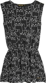 Finger In The Nose , Cat Printed Cotton Jersey Dress