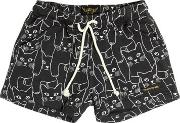 Finger In The Nose , Cat Printed Cotton Shorts