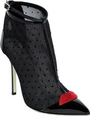 Giannico , 100mm Mesh & Patent Leather Ankle Boots