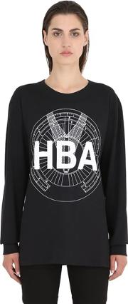 Hba Hood By Air , Logo Printed Cotton Sweatshirt