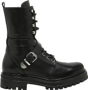Janet&janet , 30mm Buckled Leather Combat Boots