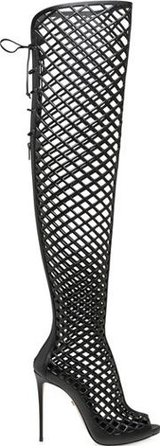 Le Silla , 110mm Cage Leather Over The Knee Boots