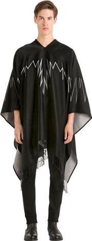 Marcelo Burlon County Of Milan , Yike Cotton & Viscose Knit Poncho