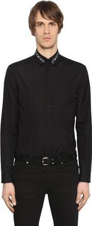 Mcq Alexander Mcqueen , Embroidered Collar Cotton Poplin Shirt