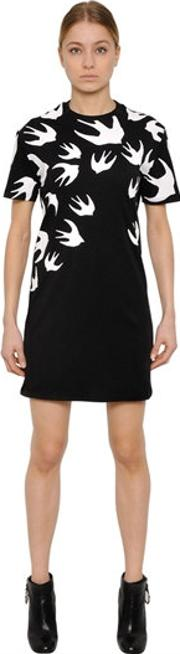 Mcq Alexander Mcqueen , Swallow Printed Jersey T Shirt Dress
